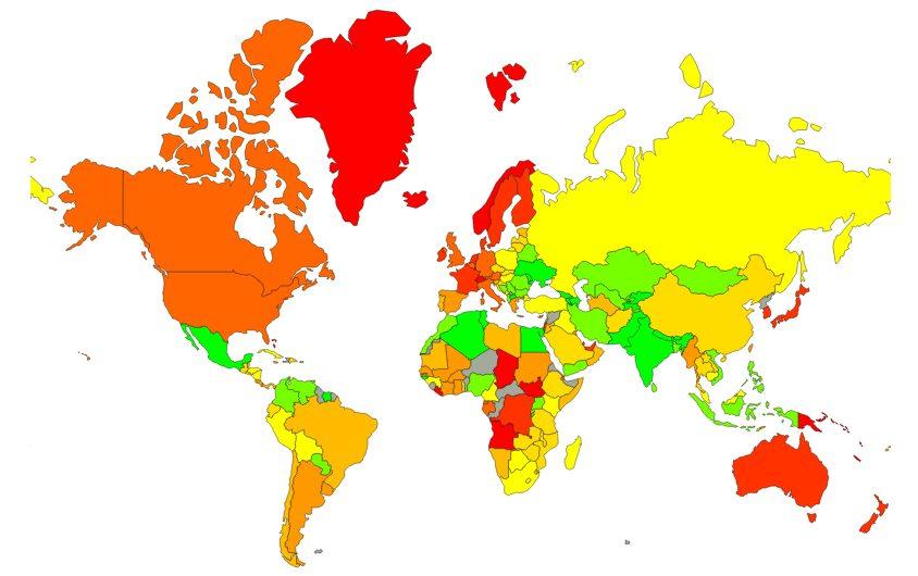 Mapa svetových priemerných životných nákladov a cien